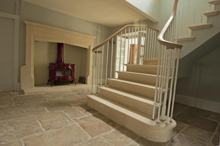 Stone fireplaces and flooring