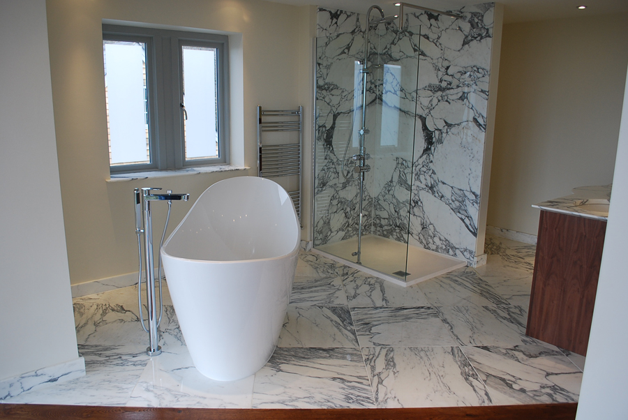 Italian marble bathroom using Arabescato Marble Stunning marble bathroom using Arabescato Marble from Italy for book matched shower walls…