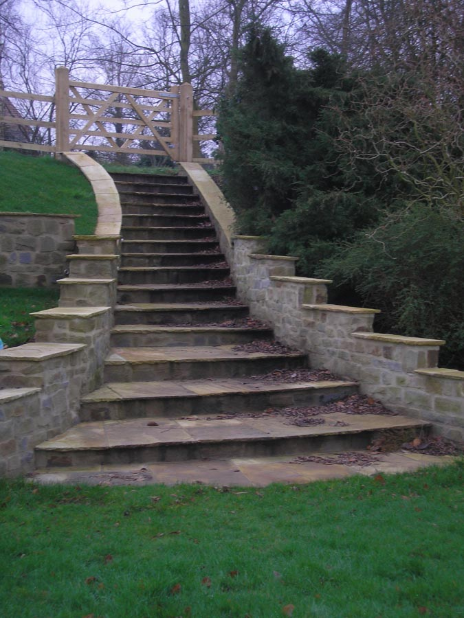 Exterior Natural Stone Steps A Flight Of Stairs In Indian Sandstone Bordered By Forest Dean Walling