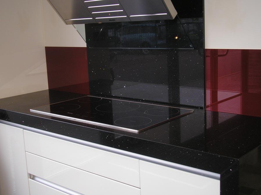 Granite Kitchen Ed Worktops And Splashback Man Made Quartz Worktop With Splash Back Mitred Front Edge Onto Side Panel