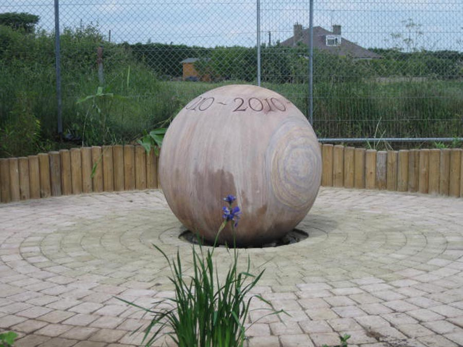 Marble granite stone for garden exteriors windsmere s stone garden ornaments one of our large stone balls this is the largest 1 metre diameter sigh written with a hole drilled workwithnaturefo